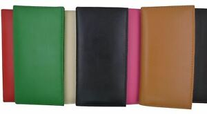 Leather Basic Checkbook Cover Holder Slim Plain Mens Womens Many Colors New