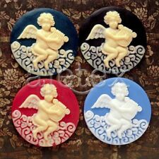 4pcs Assorted 35x35mm Angel Resin Round Vintage Style Cameo Cabochon RB0606