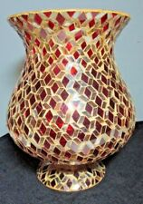 """Large Red & Gold Mosaic Footed Glass Vase 9 1/2"""" Tall ~ Made in India Beautiful!"""