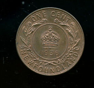1936 Newfoundland Large Cents MS62 RB CP261
