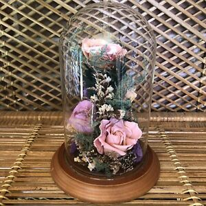 Preserved Roses Flowers Cloche Glass Dome Wooden Base Freeze Dried BOHO Decor