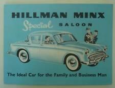HILLMAN MINX Special Saloon Car Sales Brochure 1958 #527/H