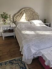Antique White Cotton Crochet Lace Double Bed Spread Throw 2 Cotton Pillowcases