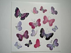 Paper Magic ~ GLITTER & GEMS BUTTERFLIES ANY OCCASION GREETING CARD + ENVELOPE