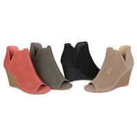 Brinley Co Womens Faux Suede Laser Cut Open toe Wedges New