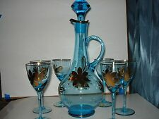 DECANTER WITH 6 GLASSES GILDED FLOWER AND GOLD TRIMMINGS MADE IN RUMANIA