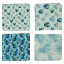 Set of 4 Blue and White Ceramic Floral Coasters Cork Back Drinkware Hamptons