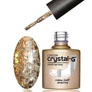 CRYSTAL-G - D24 LIGHT BRONZE - DIAMOND GLITTER SHIMMER - UV LED GEL NAIL POLISH