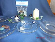 6 Glasteller Teelichthalter Kerzenhalter Dekoration Glassteine Glas NEU