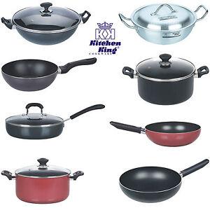 Non Stick Aluminium Wok Stir Frying Pan Deep Professional Asian Cooking Saucepan