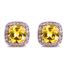 Natural  Shiny Square Cut Golden Citrine Gems Rose Gold Plated Stud Earrings