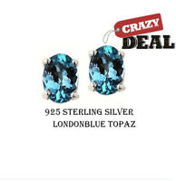 2.00 CTTW Solid .925 Sterling Silver Oval Blue Topaz Studs