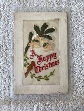 Vintage 1st WW Silk Postcard Happy Christmas VG
