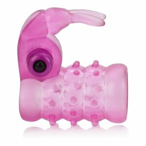 Stretchy Vibrating Bunny Male Penis Girth Enhancer Cock Ring Cage Orgasm Sleeve