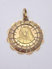 Ancienne grande médaille religieuse en or 18k Vierge pendentif
