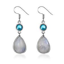 925 Silver RAINBOW Moonstone Aquamarine Dangle Hook Wedding Earring Handmade Lot