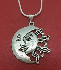 Sun kissing moon Necklace Charm Pendant n Chain festival summer