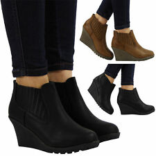 Women's Slip on Ankle Wedge Synthetic Boots