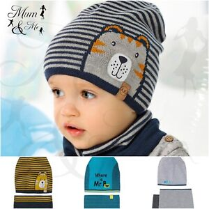 Boys Hat and Scarf Kids Set Warm Winter Hat with Scarf Lining Fleece Lining Fur