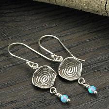 Vintage Style 925 Sterling Silver Blue Fire Opal Dangle Earrings Women's X378
