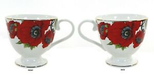 Grace's Teaware POPPY 14oz Footed Cup Mug Red Flowers Floral Metallic Gold Rim