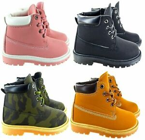 INFANT BOYS BLACK ANKLE LACE UP RIDING COMBAT TRAINERS BOOTS UK 5-3 TIMBO