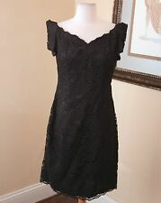 Vtg 80s 90s Black Lace Cocktail Dress Size M Party Formal Floral Mini