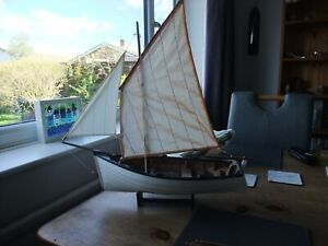 Hanah Sailing Boat Model On Wooden Stand With Oars Handmade Quality.