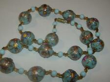 Antique Blue Rose Venetian Art Glass Wedding Cake Fiorato Beads Murano Necklace