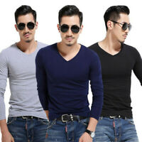 Men's Slim Fit T-shirt Long Sleeve Tops Pullover V-Neck Blouse Casual Fashion