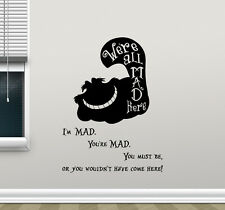 Cheshire Cat Quote Wall Decal Alice In Wonderland Vinyl Cartoons Sticker 46crt
