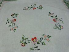 75x75cm==lin-métis vintageblanche  ,nappe carrée  brodée main ,les fleurs