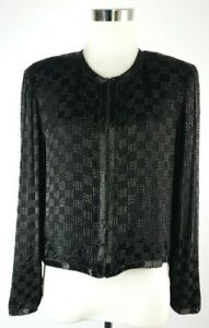 Scala VTG Size S Black Beaded Evening/Dressy Silk Jacket LS Hook and Eye Front
