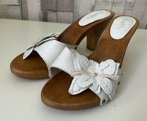 Faith White Butterfly Wooden Heel Slip On Sandals