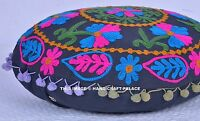 "16"" ROUND SUZANI EMBROIDERED FLOOR PILLOW CUSHION THROW Cover Seating Indian"