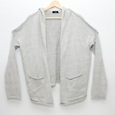 BDG Womens Hooded Knit Open Cardigan Gray Small with Pockets