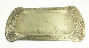 Antique arts and crafts repousse pewter on tin bramble fruit card tray charger