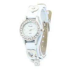 Mega Süße Damenuhr Armbanduhr Fame Weiß Strass Leder Top Uhr aus Insolvenz
