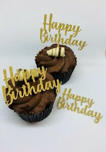 12 HAPPY BIRTHDAY GLITTER CUPCAKE TOPPERS OR PICKS GOLD SILVER PARTY CAKE TOPPER