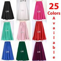 Women Maxi Skirts Lady Retro Elastic Waist Girl Jupe Dress Chiffon 2 Layer Long