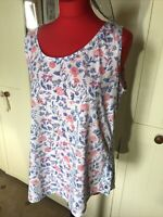 JOULES Bo Print Ladies White Blue Floral Cotton Sleeveless Vest Top Size 16