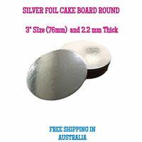 "3"" Inch Cardboard Cake Board Round Silver Thickness 2mm - Premium Board"