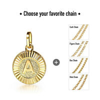 """Gold Filled Initial Necklace Round Letter Pendant Stainless Steel Chain 18"""""""