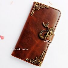 Mermaid phone wallet Leather flip case Handmade Stand cover For HTC one M8 M9 A9
