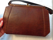 Handbag Faux Croc Alligator Doctor Boho 50s 60s Purse Classic Vogue Vintage