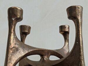 Mid Century Brutalist Bronze Candleholder Michael Harjes Germany 1960's
