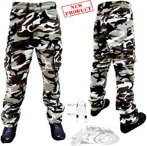 MENS BROWN / GREY COTTON CAMO CARGO WITH KEVLAR MOTORBIKE MOTORCYCLE TROUSERS