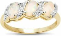 9CT GOLD 0.77ct GENUINE OPAL & DIAMOND ETERNITY ENGAGEMENT RING ALL SIZES