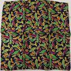 "New SANTOSTEFANO Black Orange Green 12"" Silk Pocket Square Handkerchief NWT 150"