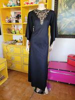 Vtg 70s Black Kimono Sleeve Rhinestone Gloria Moret Maxi Hippie Witch Dress M